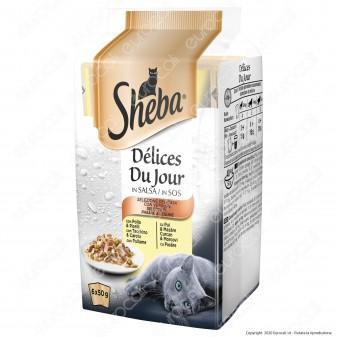 Sheba Delices Du Jour Selezione Deliziosa Cibo per Gatti al Gusto Pollo, Tacchino e Pollame - 6 Buste da 50g