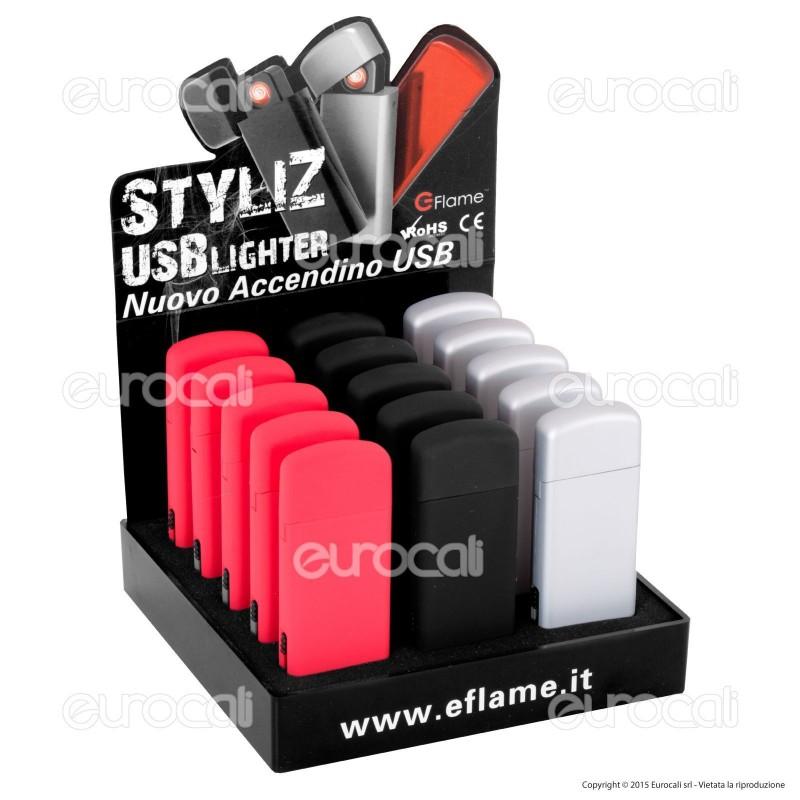 E-Flame Accendino USB Antivento Ricaricabile - Box da 15 Accendini (Rosso - Nero - Argento)