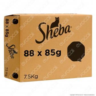 Sheba Selezione 4 Gusti Cibo per Gatti con Pollo, Tacchino, Agnello e Pollo, Salmone - 88 Vaschette da 85g