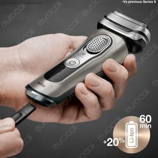 Braun Series 9 9325s Rasoio Barba Elettrico Ricaricabile Wet&Dry con Base Di Ricarica e Pouch