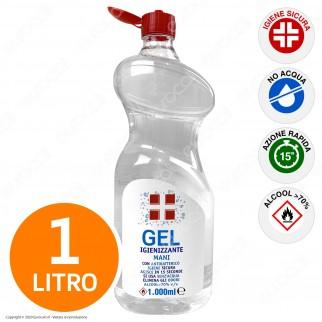 Gel Alcool ≥ 70% Igienizzante Mani con Antibatterico Efficace Contro Germi e Batteri - Flacone da 1 Litro