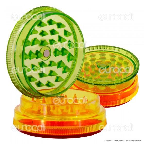 Grinder Tritatabacco 3 Parti in Plastica Trasparente Colori Rasta
