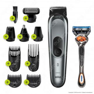 Rasoio Elettrico Uomo Braun GK7220 Barba e Capelli 10in1 con Gillette Fusion