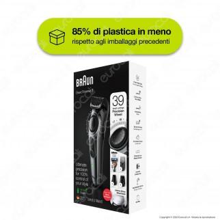 Braun BT7220 Regolabarba Tagliacapelli a Batteria Ricaricabile con 39 Lunghezze e Rasoio Gillette Fusion 5 ProGlide