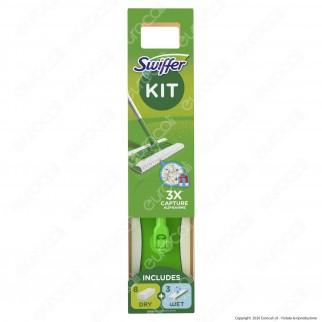 Swiffer Starter Kit Scopa con 8 Panni Catturapolvere e 3 Panni Umidi