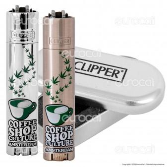 Clipper Metal Large in Metallo Fantasia Cofee Shop - 1 Accendino