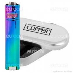 Clipper Metal Mini in Metallo Fantasia Rainbow - 1 Accendino