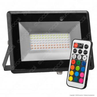 V-Tac VT-4952 Faro LED RGB 50W IP65 Dimmerabile con Telecomando Infrarossi - SKU 5996
