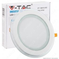 V-Tac VT-1881G RD Pannello LED Rotondo 18W SMD2835 da Incasso - SKU 4760 / 6281 / 4759