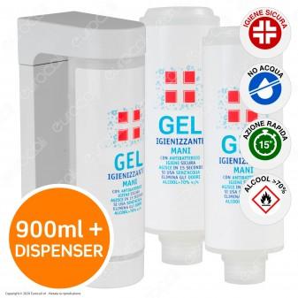 Kit Dispenser da Parete con 3 Flaconi da 300ml Ricarica di Gel Igienizzante Mani Alcool ≥ 70% con Antibatterico