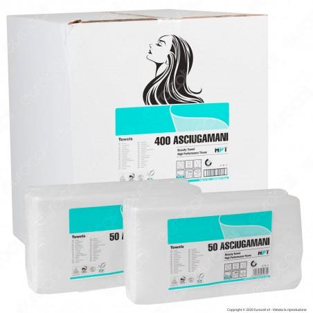 400 Panni Monouso Asciugamani 66 gr/mq Professionali 3 Veli con Micro Goffratura per Capelli e Corpo - 8 Confezioni da 50 Fogli