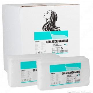 Panni Multiuso Asciugamani Interfogliati 3 Veli con Micro Goffratura per Capelli e Corpo - 8 Confezioni da 50 Fogli