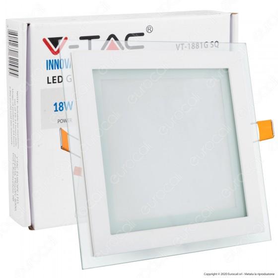 V-Tac VT-1881G SQ Pannello LED Quadrato 18W SMD2835 da Incasso - SKU 4746 / 6280 / 4745
