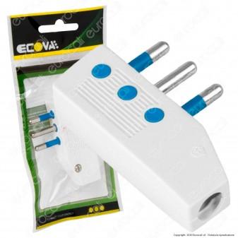 Ecova Spina Singola 10A 2P+T Reversibile Piatta con Uscita Cavo 90° Bianco - mod. 30027