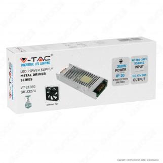 V-Tac VT-21360 Alimentatore 360W 12V Per Uso Interno a 2 Uscite con Morsetti a Vite - SKU 3274