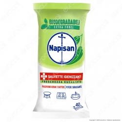 Napisan Salviette Biodegradabili Igienizzanti Eucalipto - Confezione da 40 Maxi Salviette