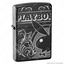 Accendino Zippo Mod. 49085 Playboy 360° PVD Black Ice - Ricaricabile Antivento