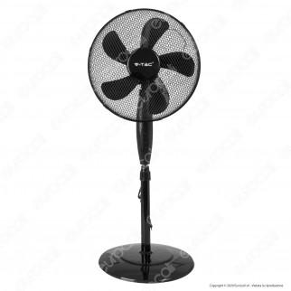 V-Tac VT-5016-5 Ventilatore a Piantana 55W 5 Pale in Plastica Colore Nero Altezza 1250mm - SKU 7923
