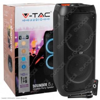 V-Tac Audio VT-6308-2 Soundor 8x2 Cassa Attiva 40W con Bluetooth Karaoke LED RGB Telecomando e Microfono - SKU 8980
