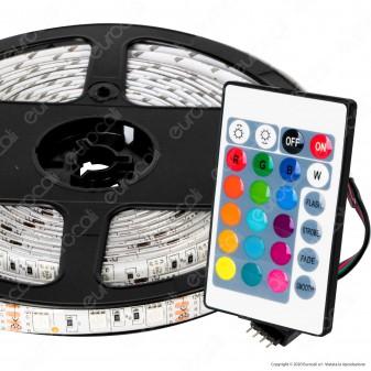 Sure Energy Striscia LED Bobina 5 Metri 12V 14,4W 60 LED/metro Multicolore RGB Dimmerabile IP65 - mod. T445