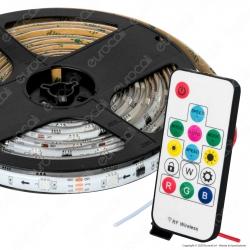 Sure Energy Striscia LED Bobina 5 Metri 12V 7,2W 30 LED/metro Multicolore RGB Dimmerabile IP65 - mod. T446