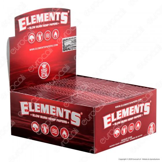 PROV-A00201010 - Cartine Elements Red King Size Slim Lunghe in Canapa - Scatola da 50 Libretti