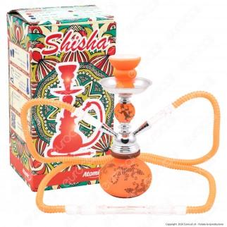 Atomic Narghilè in Vetro Lavorato Colore Arancione Fantasia Lucertola con 2 Hose mod. 0230720 - Altezza 25cm