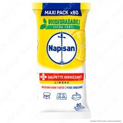 Napisan Salviette Biodegradabili Sgrassanti e Igienizzanti Limone - Confezione da 80 Salviette