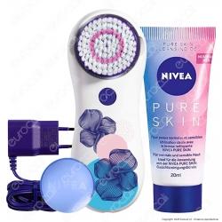 Nivea Pure Skin Kit Spazzola Pulente Viso con Gel Detergente e Alimentatore