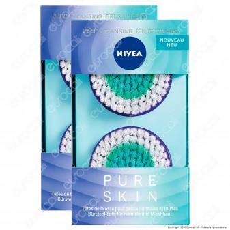 Nivea Pure Skin Spazzole di Ricambio Pulizia Profonda per Pelli Normali - 2 Confezioni da 2 Testine