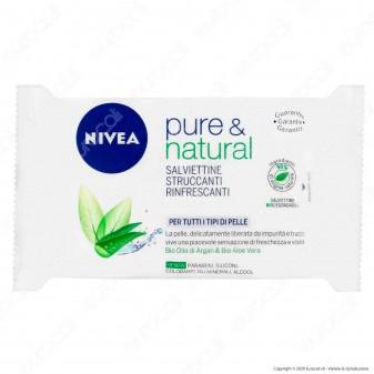 Nivea Pure & Natural Salviettine Struccanti e Rinfrescanti Biodegradabili - Confezione da 25 Salviette