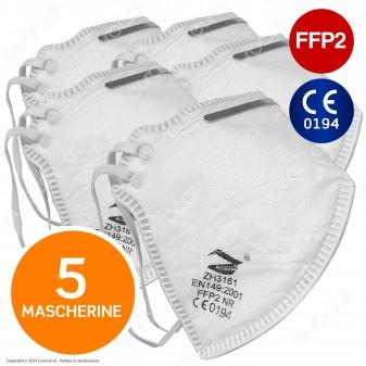 5 Mascherine Filtranti Monouso con Fattore Classe di Protezione Certificato FFP2 in TNT Colore Bianco
