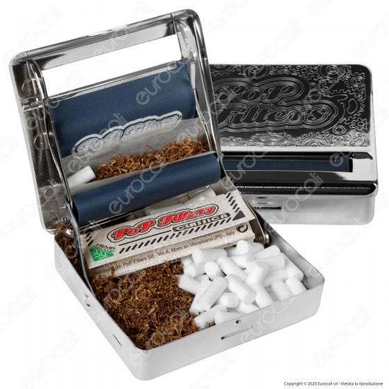 Pop Filters Macchinetta per Sigarette Rollatore Tabacchiera in Metallo per Cartine Corte