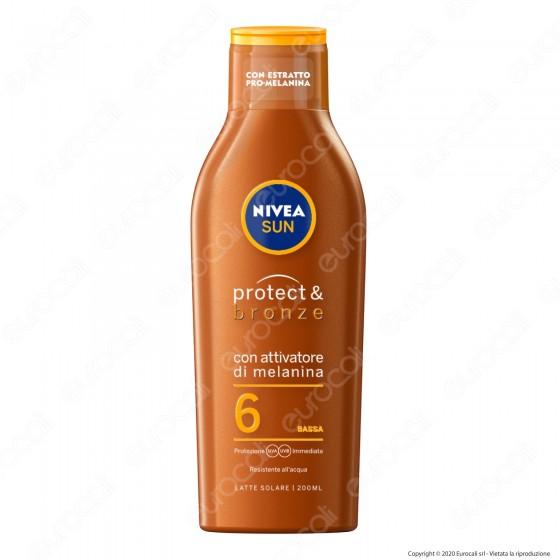 Nivea Sun Latte Solare Protect & Bronze FP 6 - Flacone da 200ml