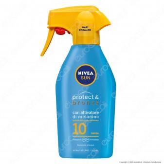 Nivea Sun Spray Solare Protect & Bronze FP 10 con Attivatore Melanina - Flacone da 300ml