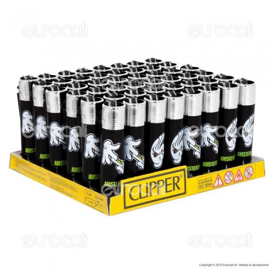 Clipper Large Fantasia Weed Hands - Box da 48 Accendini