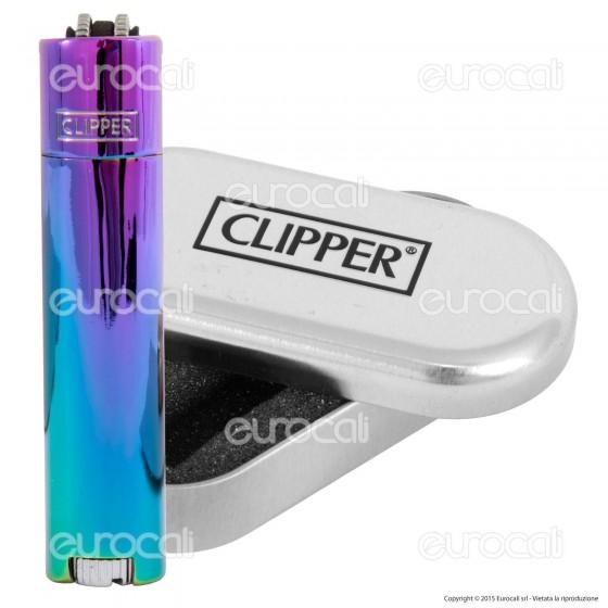 Clipper Metal Large in Metallo Fantasia Rainbow Icy Color - 1 Accendino
