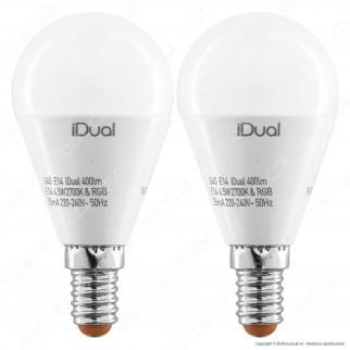 Kit iDual 2 Lampadine LED E14 MiniGlobo P45 Multifunzione RGB+W 4,5W con Telecomando