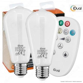 Kit iDual 2 Lampadine LED E27 Filament 9W Bulb ST64 Changing Color Dimmerabile in Vetro Bianco con Telecomando