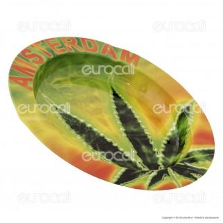 Amsterdam Posacenere da Tavolo Rotondo in Metallo - Neon Leaf