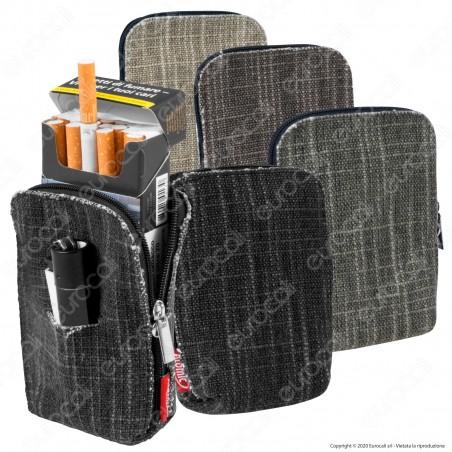 Atomic Portasigarette Portapacchetto in Tessuto Lino Colorato con Porta Accendino Chiusura Zip