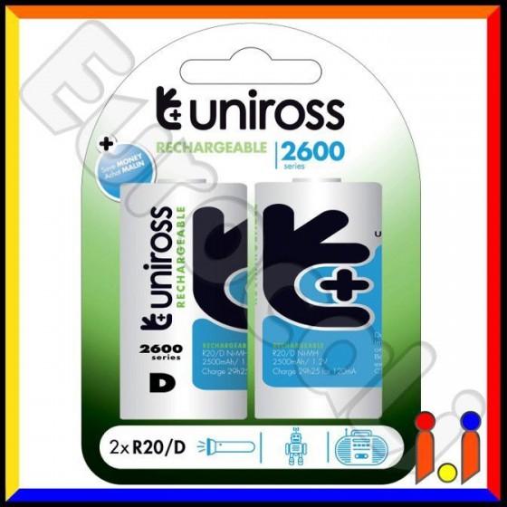 Uniross Performance Torcia D 2600 Series Pile Ricaricabili - Blister 2 Batterie