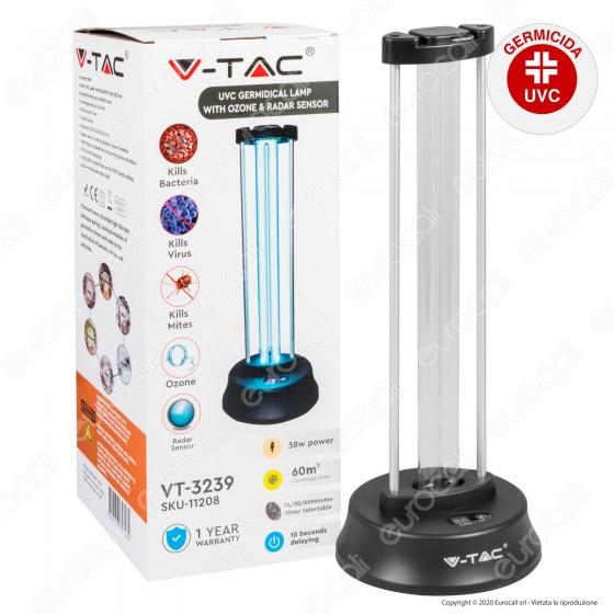 V-Tac VT-3239 Germicidal Lamp Lampada Raggi UV-C 38W con Sensore Radar Antibatterica per Ambienti - SKU 11208