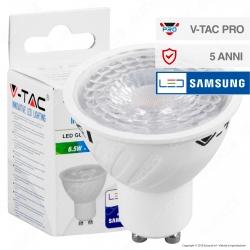 V-Tac PRO VT-227 Lampadina LED GU10 6,5W Faretto Spotlight 38° Chip Samsung - SKU 189 / 190 / 191