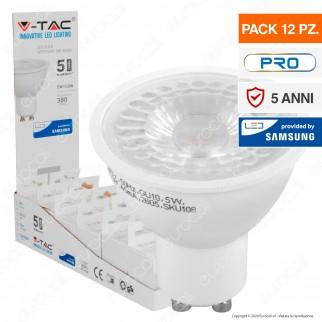 V-Tac PRO VT-275 Confezione 12 Lampadine LED GU10 5W Faretti Spotlight Chip Samsung 38° - SKU 10812