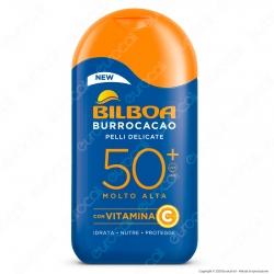 Bilboa Latte Solare Burrocacao Protezione Molto Alta SPF50+ Pelli Delicate - Flacone da 200ml