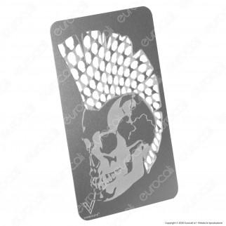 Grinder Card Formato Tessera Tritatabacco in Metallo - Mohawk Skull