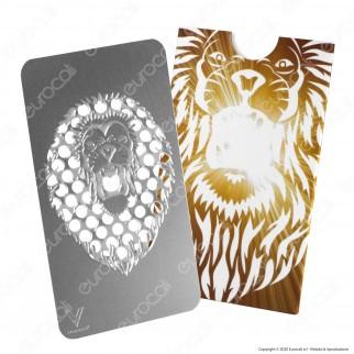 Grinder Card Formato Tessera Tritatabacco in Metallo - Leone Ruggente