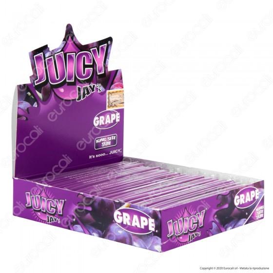 PROV-A00243001 - Cartine Juicy Jay's Lunghe King Size Slim Aroma Uva - Scatola Da 24 Libretti