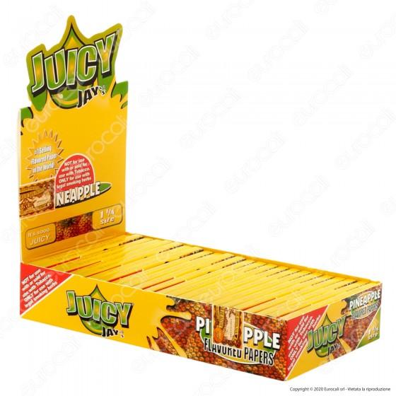 PROV-A00225001 - Cartine Juicy Jay's Corte 1¼ Aroma Ananas - Scatola da 24 Libretti